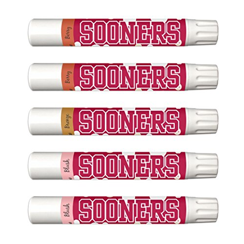 10% OFF—Oklahoma Sooners 5-Piece Shimmer Lip Balm Set. 3 Different Shades—Add That Pop of Color: Blush, Bronze, Berry. NCAA Football Basketball Gifts for (Oklahoma Lady Sooners Basketball)