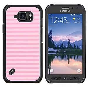 TECHCASE---Cubierta de la caja de protección para la piel dura ** Samsung Galaxy S6 Active G890A ** --líneas verano patrón horizontal de color rosa