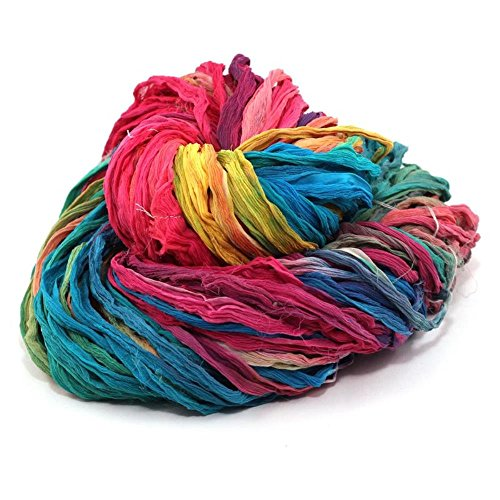 Premium Bulky Multicolor Silk Chiffon Ribbon Yarn | Beautiful Handmade Silk Chiffon Ribbon for Knitting, Crocheting, Arts and Crafts or Gift Wrapping by Darn Good Yarn | 40 Yards, 100g