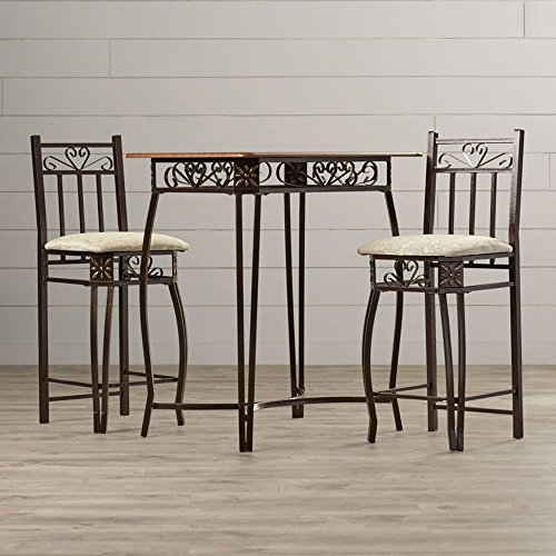 Contemporary Vintage Pub Table Set - 3 Piece Counter Height Bistro - Home Bar Wood Top Table & 2 Upholstered Stools In Bronze Finish (Wrought Glass Table Iron Chairs And)