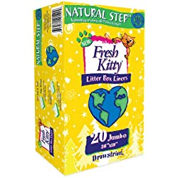 Fresh Kitty Litter Box Liners, 20 Count Natural Step Drawstring