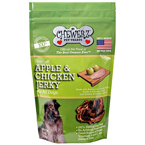 Chewerz APPLE & CHICKEN JERKY DOG TREATS – Made in USA Only – Best Pet Snacks Since Homemade – Premium All Natural Healthy Snack Chews For Dogs – 3 Ingredient Treat –
