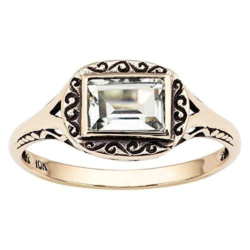10k Yellow Gold Vintage Style Genuine Emerald-Cut Green Amethyst Scroll Ring