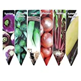 Garden Plant Markers Metal Aluminum Lot of 6 Vegetable Turnips Onions Brussels Sprouts Leeks Beets Summer Squash