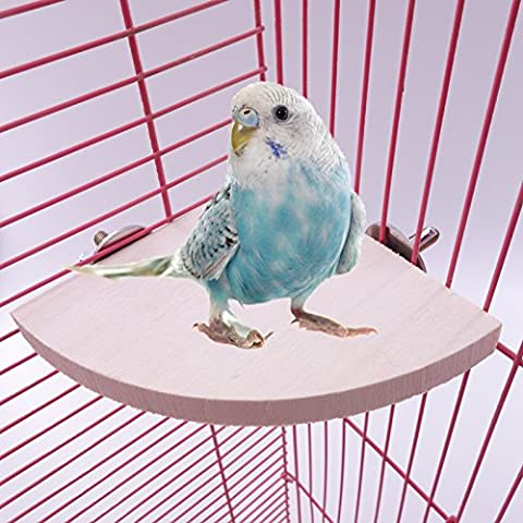 Looching Wooden Parrot Bird Cage Perches Round Coin Stand Platform Bird Stand for Parakeets - Wooden Perch