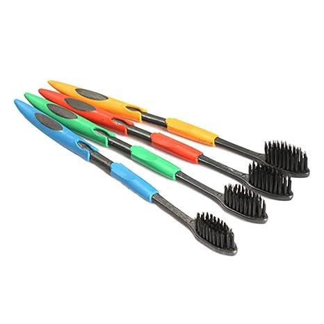 4 cepillos de dientes de bambú para viaje y carbón de Nano, cerdas suaves,