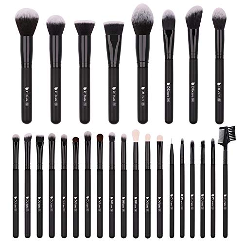 DUcare Makeup Brushes 27Pcs Professional Makeup Brush Set Premium Synthetic Goat Pony Hair Kabuki Foundation Blending Brush Face Powder Blush Concealers Eye Shadows Make Up Brushes Kit (Brushes Hair Makeup Goat)