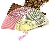 Pink 100Pcs Bamboo Ribs Pocket Fans Elegant Blossom Flower Folding Hand Fan Summer Women Girl Dancing Fan