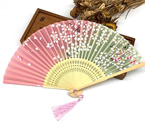 Pink 100Pcs Bamboo Ribs Pocket Fans Elegant Blossom Flower Folding Hand Fan Summer Women Girl Dancing Fan by Hand Fan