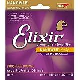Elixir Acoustic guitar strings and pick bundle, Light-Medium (.012-.056)