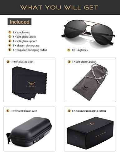 Men Women Sunglasses Aviator Polarized Driving by LUENX - UV 400 Protection Grey Lens Gun Metal Frame 60mm by LUENX (Image #5)
