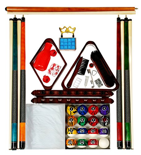 Billiard Pool Table Accessory Kit W/ Dark Marble - Swirl Style Ball Set Mahogany Finish (Accessories Kit Table Pool)