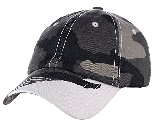 Adjustable 6-Panel Low-Profile Baseball Cap LOW100- EP Camo White ()