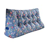 MS Pillow Triangle Bed Large Cushion Sofa Back Protect The Waist Soft Comfortable Pillow Lumbar Pillow PP Cotton Blue Floral Pattern Multiple