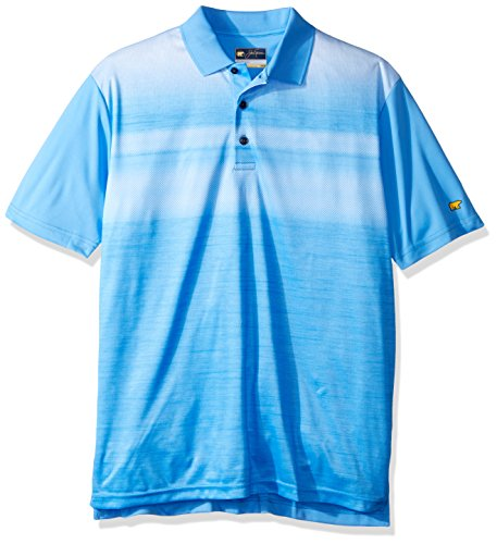 Jack Nicklaus Men's Short Sleeve Front Panel Texture Print, Little Boy Blue_Panel Texture, Medium (Front Print Placket)