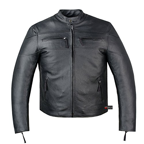 New Men's Armor Touring Motorcycle Leather Cruiser Stretchable Jacket Black S