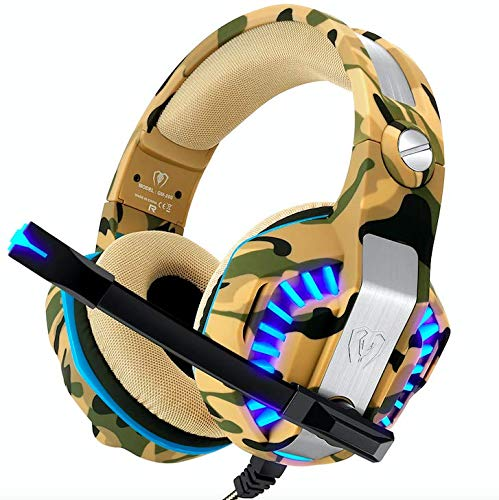 Kroltronics Gaming Headset PS4 Headset PC Xbox One Headset with Mic Surround Sound Noise Cancelling LED Lights (Camo)