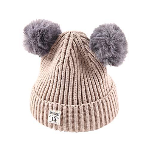 Children Hat,AutumnFall Baby Kids Beanie for Boys Girls Cap Cotton Knitted Ball Warm Hats (Beige) ()