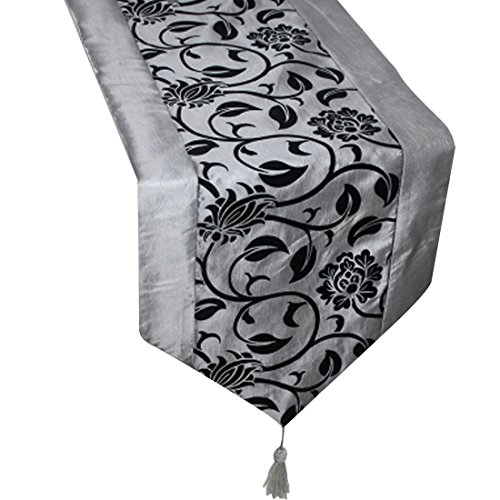uxcell Flocking Taffeta Table Top Damask Runners, 76