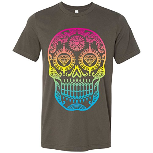 Neon Diamond Eyes Smiling Sugar Skull Mens Fitted Tee - Army 3X-Large ()