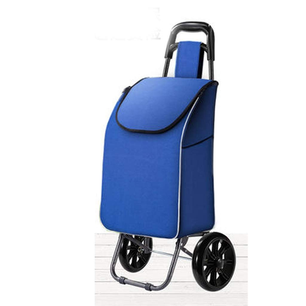 Lxrzls Shopping Cart, Grocery Shopping Cart, Small Cart, Folding Trolley Trolley Portable (Color : Blue)