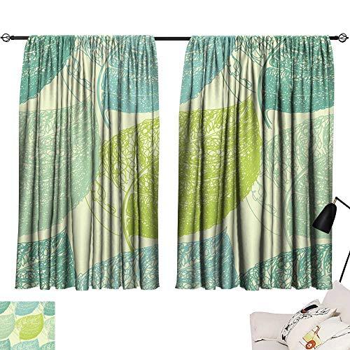 (Hariiuet Room Curtains Summer Hand Drawn Leaf Wallpaper Seamless Pattern Background 72