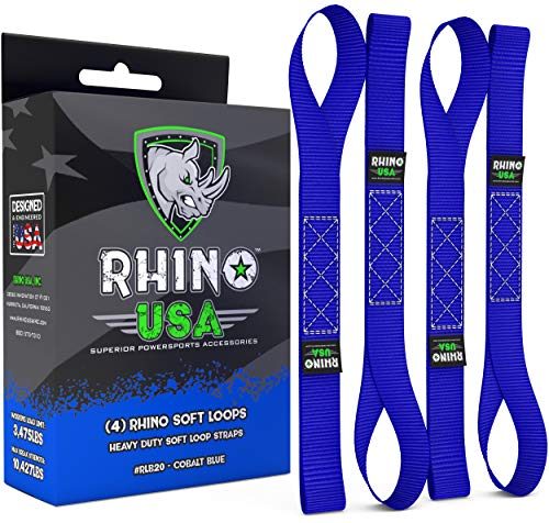 RHINO USA Soft Loop Motorcycle Tie Down Straps - Guaranteed 10,427lb Max Break Strength, Heavy Duty Tiedown Loops for Secure and Confident Trailering of Motorcycles, Dirtbikes, ATV, UTV (Blue 4-Pack) (Toy Rhino Atv)