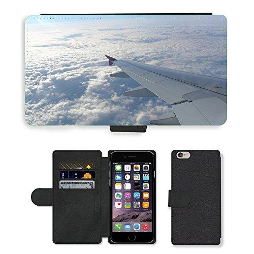 """Just Phone Cases PU Leather Flip Custodia Protettiva Case Cover per // M00128924 Les Skies vol d'avion vols Ailes // Apple iPhone 6 PLUS 5.5"""""""