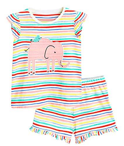 2 Piece Short Sleeve Pajamas - Toddler Baby Girl Outfit Set Short Sleeve Pajamas Lovely Animals Shirt Pants 2 Pcs Set