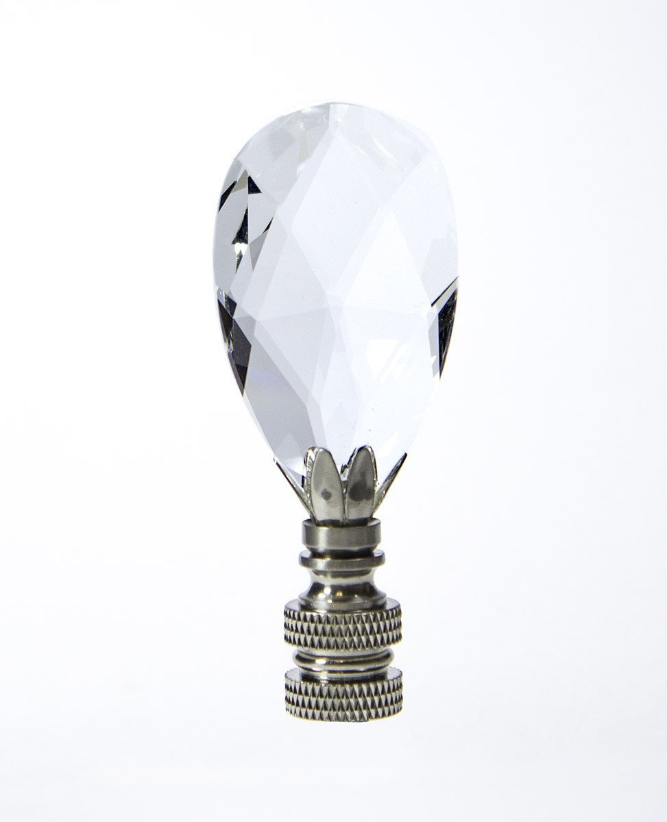 Large Crystal Teardrop Polished Silver 2.75''h