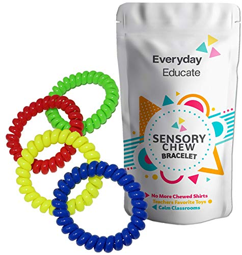 Chew Jewelry Coil Bracelet - Fun Sensory Motor Aid - Chewelry for Boys & Girls with Autism, ADHD & Sensory-Focused Needs - Oral Motor Chewing Biting Teething Help Chewable Jewelry for Kids (4)]()