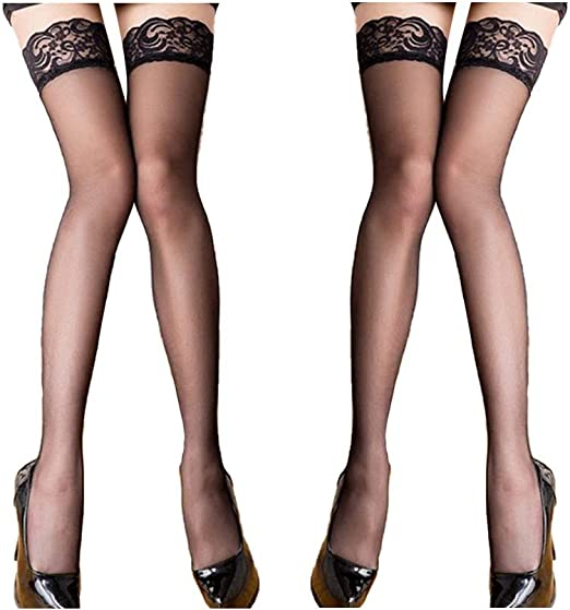 Thigh High Sheer Stockings Lace Top Stockings Tights Nylon Pantyhose for Women