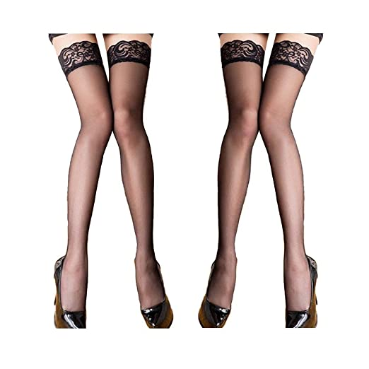 1db6aff4b 2 Pairs Lace Thigh High Sheer Stockings - Shimmery Hosiery Tights Nylon  Pantyhose for Women
