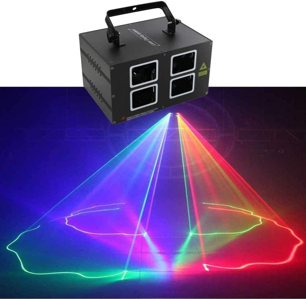 Iluminación de escenario Control de voz Línea de color de cuatro cabezas Barra de luz láser Ktv Luz láser láser Iluminación de escenario Mini disco Celebración de cumpleaños Luz