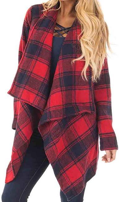 Camisa a Cuadros de Manga Larga de otoño Invierno para Mujer con Abrigo de Rebeca con Solapa Ancha: Amazon.es: Ropa y accesorios