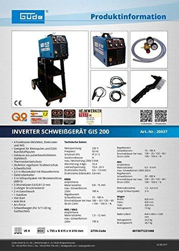 Güde Inverter sudor dispositivo GIS 200: Amazon.es: Bricolaje y herramientas