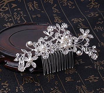 Peigne à cheveux de mariée Bridal Headpiece Wedding Slides avec perle et strass Fleur de mariage Peigne Accessoires de cheveux pour femmes et filles (Argent) by Mieoson (Taille : Approx.9.8 * 6 cm)
