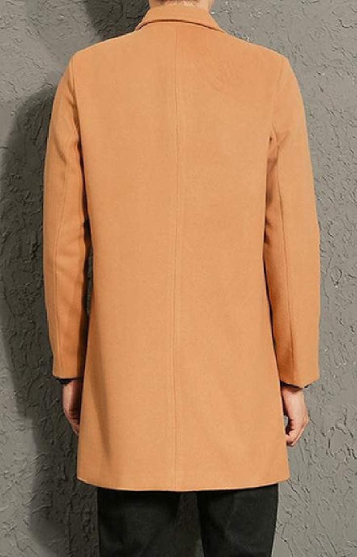 KaWaYi Mens Stylish Silm Fit Single-Breasted Pure Mid-Long Blazer Overcoat Trench Coat