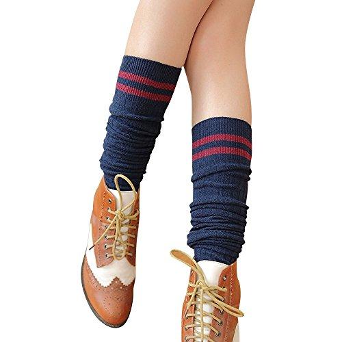 - Womens Stripe Printed Tube Long Wide Cotton Socks Soccer Uniform Cheerleading Cosplay Party Knee High Socks By GateLie (Navy)