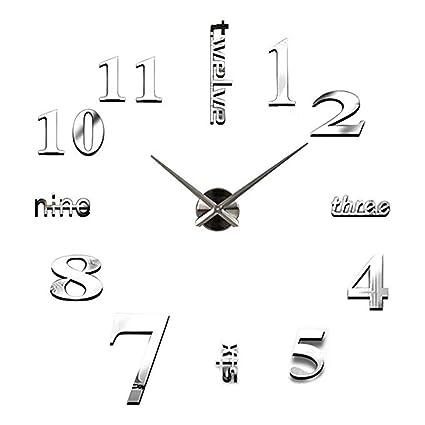 Amazoncom Xjbhd 3d Mirror Wall Clock Modern Acrylic Sticker Effect