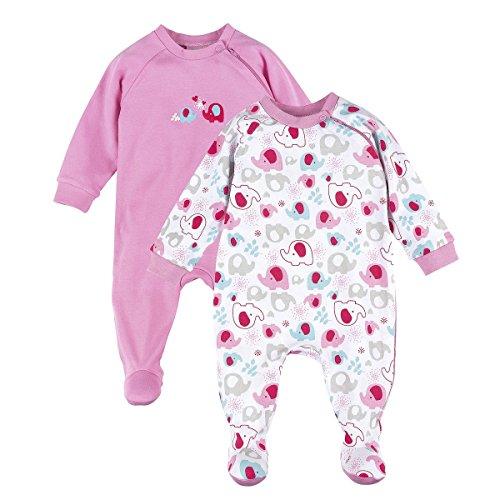BORNINO Schlafoverall im 2er Pack Baby-Nachtwäsche Baby-Schlafanzug, Größe 86/92, rosa