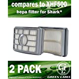 2 Pack For Shark HEPA Filter for Rotator Pro and Rotator Pro Lift-Away Vacuum Cleaners (compares to XHF500). Fits: NV500, NV501. Genuine Green Label Product.