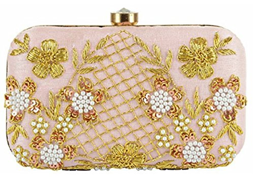 Tooba Women s Synthetic Handicraft Embroidered Clutch (Baby Pink ... 2bdc01879d343