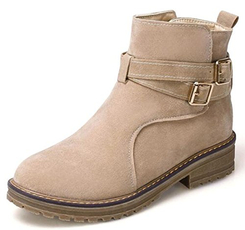 IDIFU Womens Retro Low Chunky Heels Faux Suede Buckle Ankle Boots Beige u40kq8