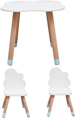 ZH Juego de Mesa y Silla de Madera para niños, Infantil Dormitorio Sala de Juegos Mesa de Actividades de Estilo de Dibujos Animados con 2 sillas, Juegos de Muebles Infantiles, Blanco: Amazon.es:
