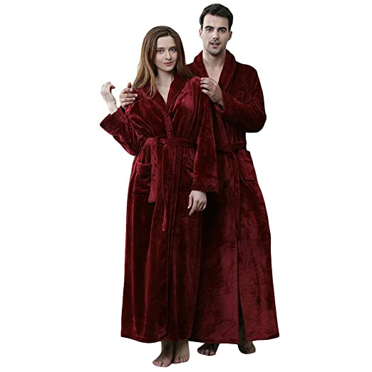 MERRYHE Comforts Womens Mens Unisex Plus Size Lujoso Franela Albornoz Suave Bata Gym Ducha Hotel SPA Batas De Baño,Red/Women-L: Amazon.es: Hogar