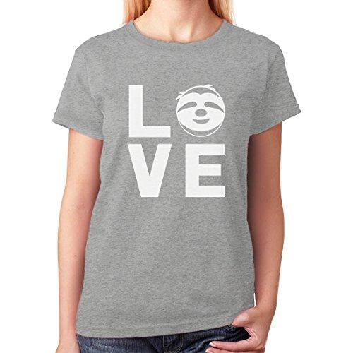 Tstars TeeStars - Love Sloths - Lazy Sloth Smiling Face - Animal Lovers Women T-Shirt Medium Gray
