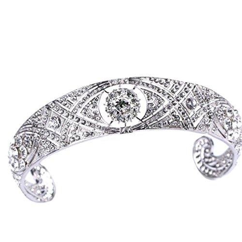 Elegant Vintage Replica of Princess Meghan Tiara Crown with Rhinestones (Princess Meghan Replica) ()