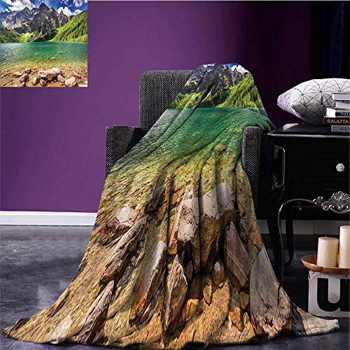 RenteriaDecor Mountain Lightweight Blanket Lake Tatra and Mountains Poland Forest at Sunrise Rocky Shore Oversized Travel Throw Cover Blanket Green Turquoise Pale Brown Bed or Couch 70