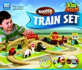 Deluxe Wooden Train Set - Compatible with All Major Brands Including Thomas Railway System - by Kids Destiny